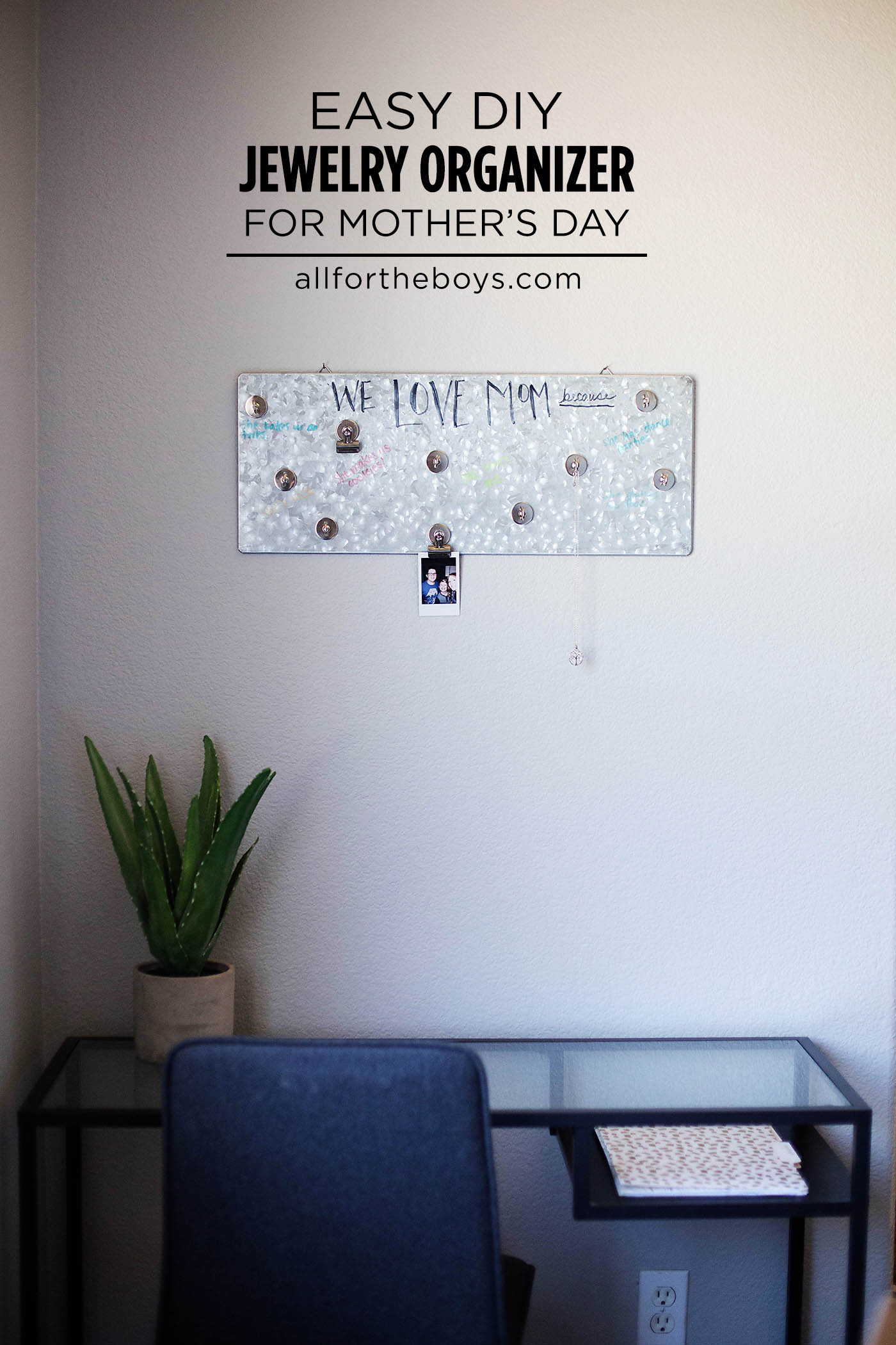 Easy DIY hanging jewelry organizer for Mother's Day