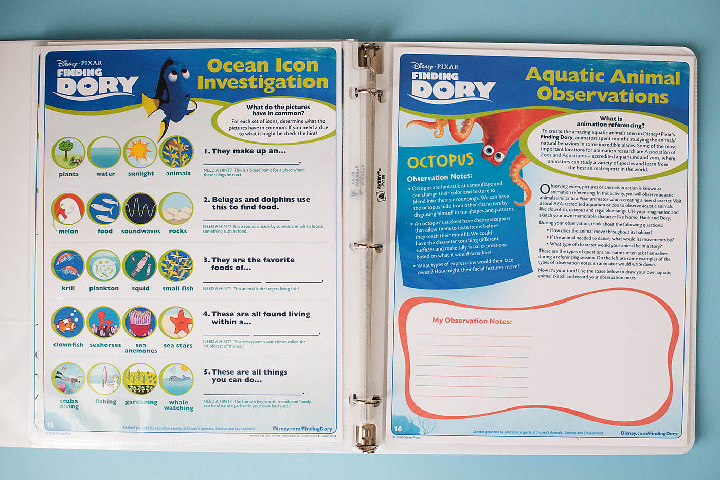 Finding Dory Printable Educational Activity Book — All for the Boys