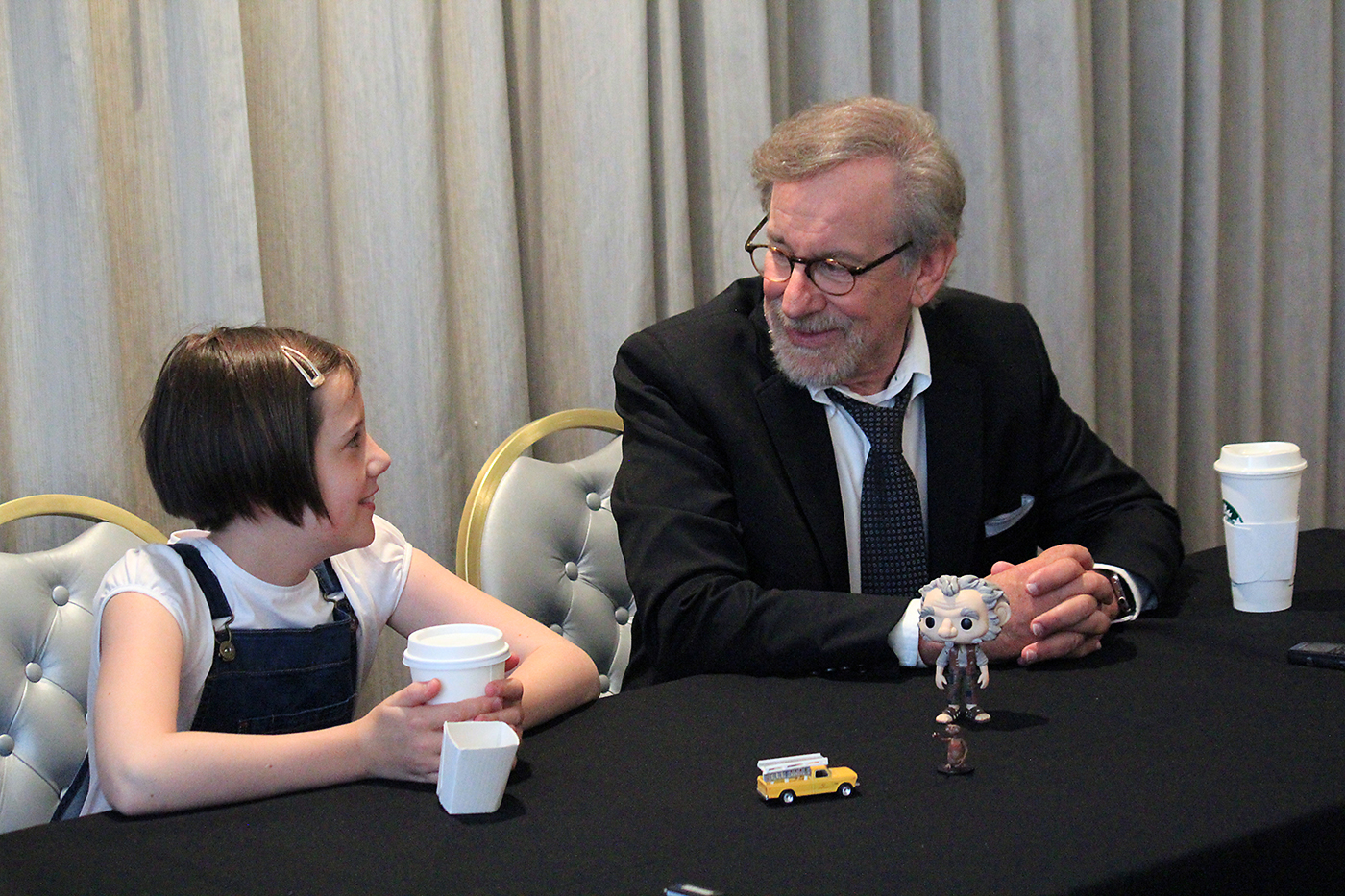 Ruby Barnhill and Steven Spielberg