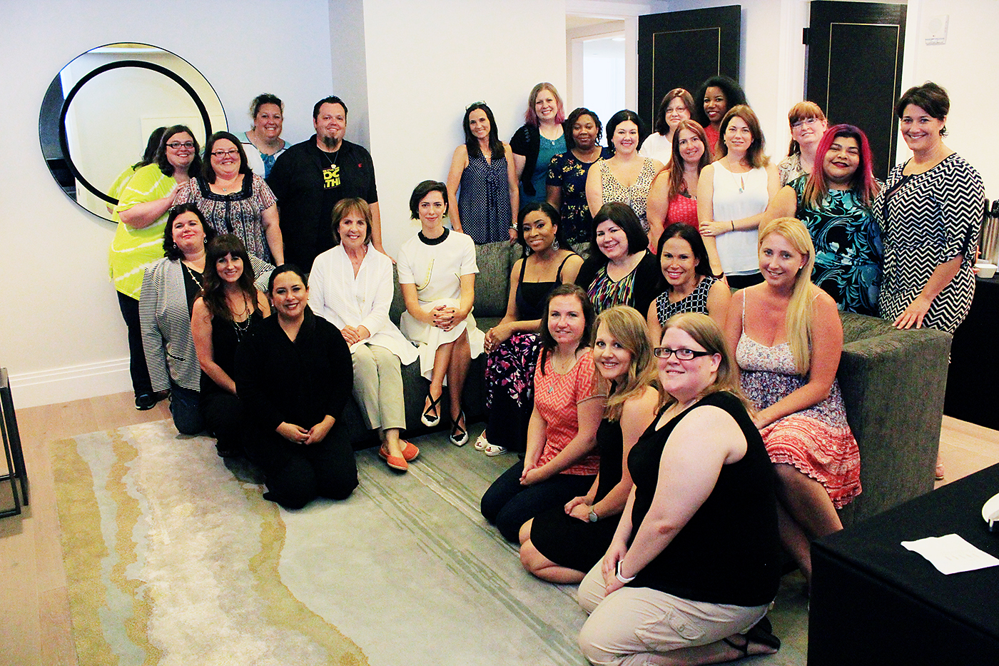 Blogger group photo with Penelope Wilton and Rebecca Hall