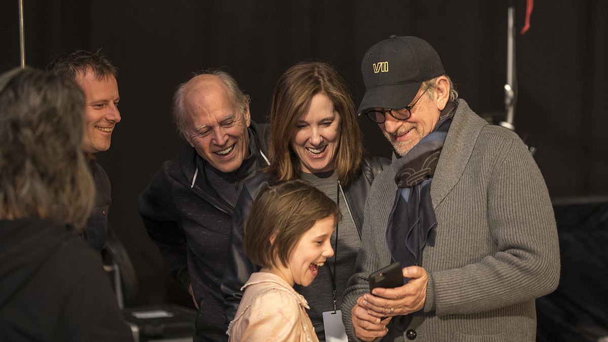 Director Steven Spielberg with Ruby Barnhill and producers Frank Marshall and Kathleen Kennedy on the set of Disney's fantasy-adventure, THE BFG