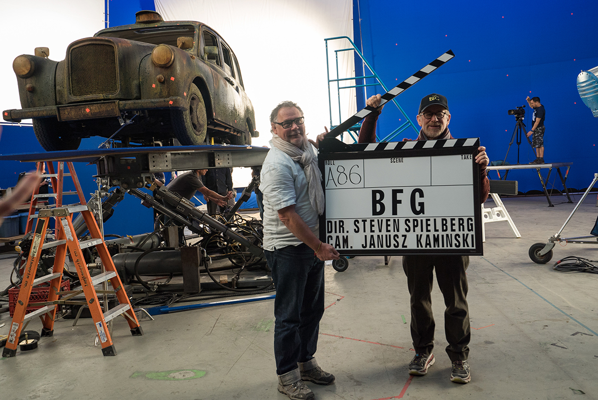 Director Steven Spielberg and cinematographer Janusz Kaminski on the set of Disney's THE BFG, based on the best-sellling book by Roald Dahl.