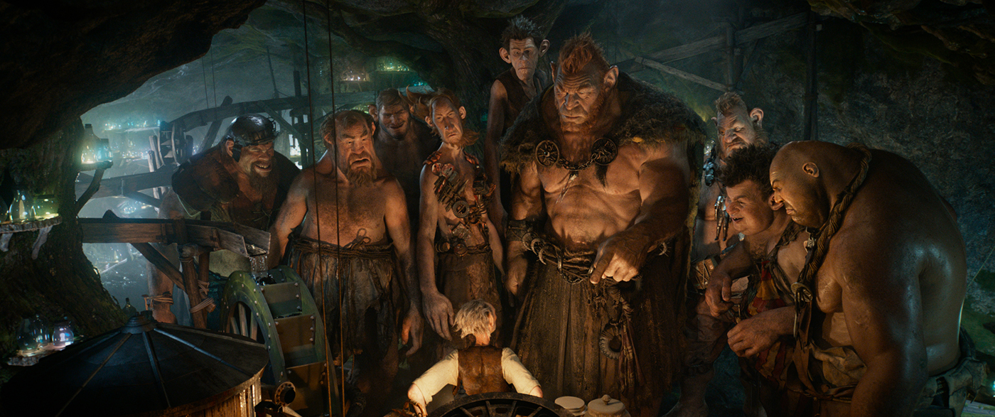 (Left to right) Gizzardgulper, Childchewer, Maidmasher, Bloodbottler, Manhugger, Fleshlumpeater, Meatdripper, Butcher Boy, and Bonecruncher surround the BFG