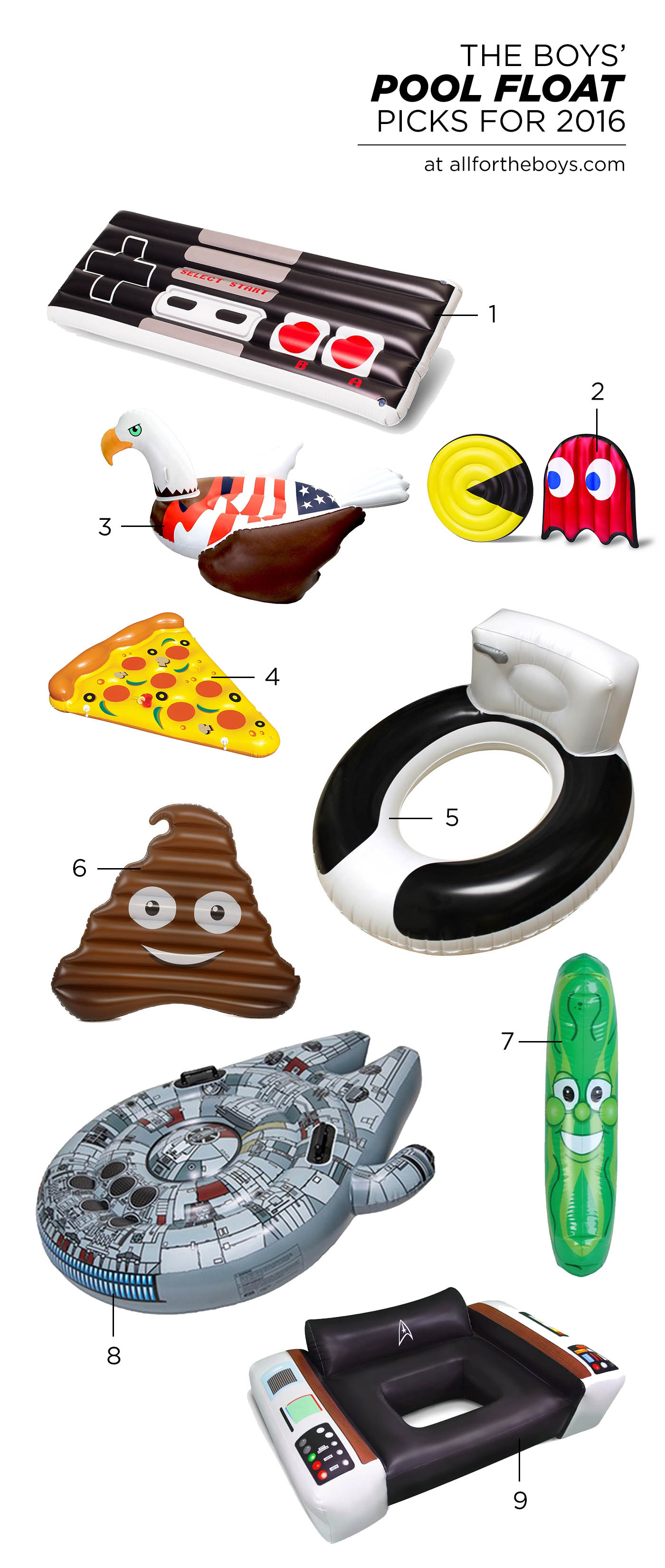 Pool float picks for 2016 chosen by 11 and 13 year old boys