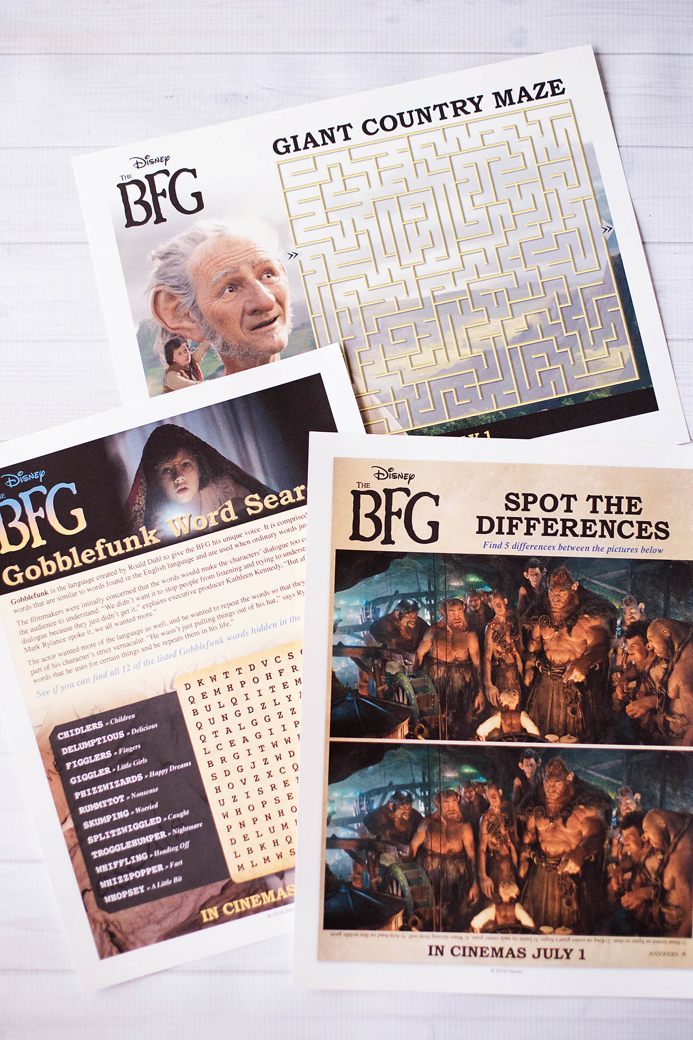 The BFG printable activity pages
