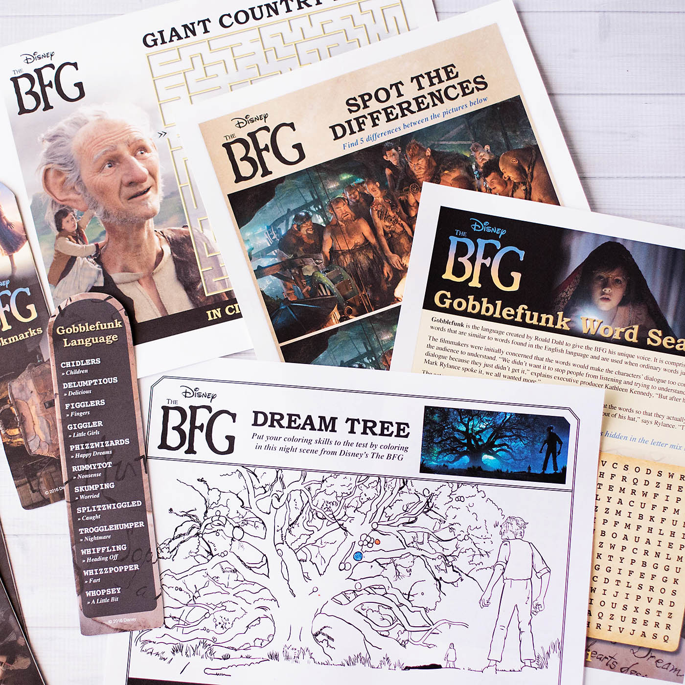 The BFG printable bookmarks, coloring & activity pages