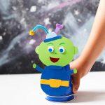 Jumping Alien craft and Galaxy art