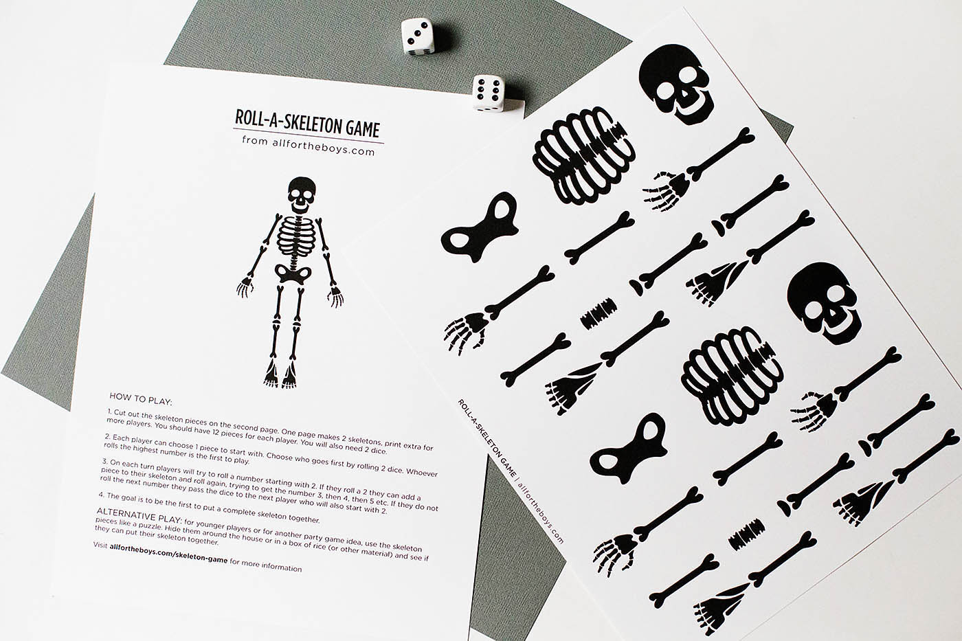 photograph about Game Pieces Printable referred to as No cost Printable Skeleton Match All for the Boys