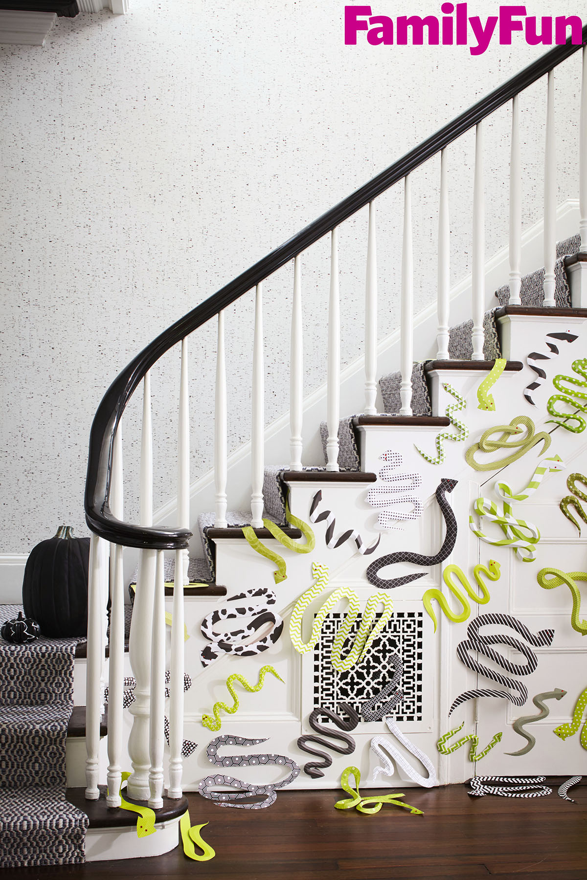 Slithering Stairs - easy DIY Halloween decor idea