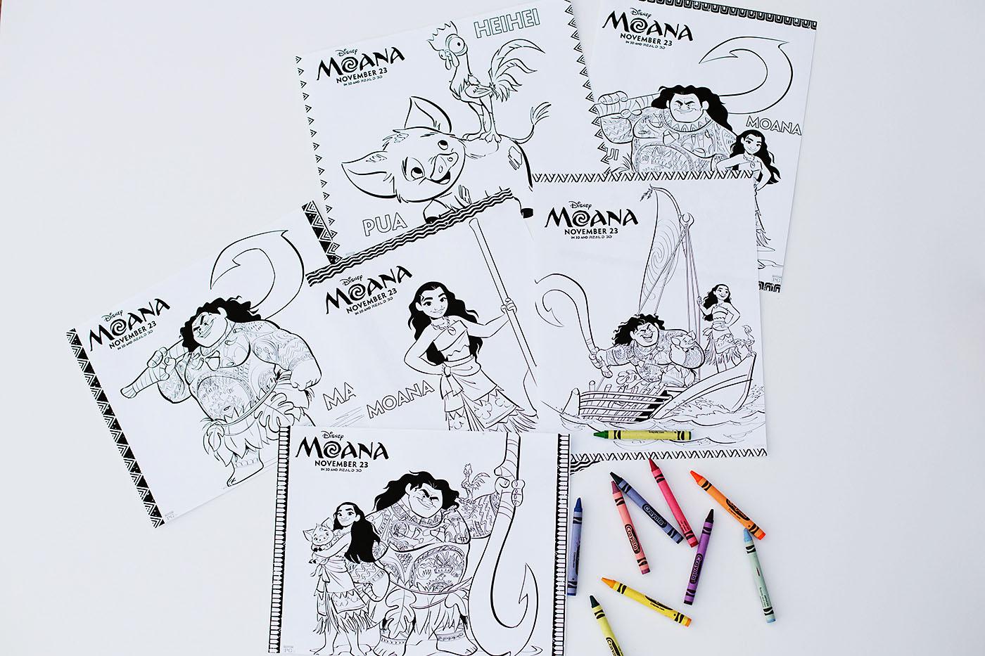 Moana для печати раскраски, закладок, лабиринта и соответствующей игры!