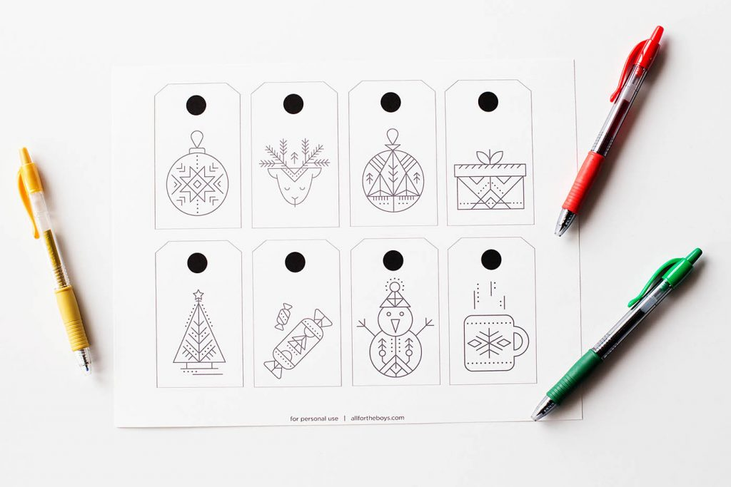 Free printable coloring (or blank) gift tags