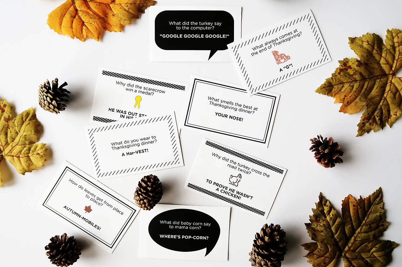Printable Thanksgiving and Fall themed joke notes - perfect for lunch boxes or just because!