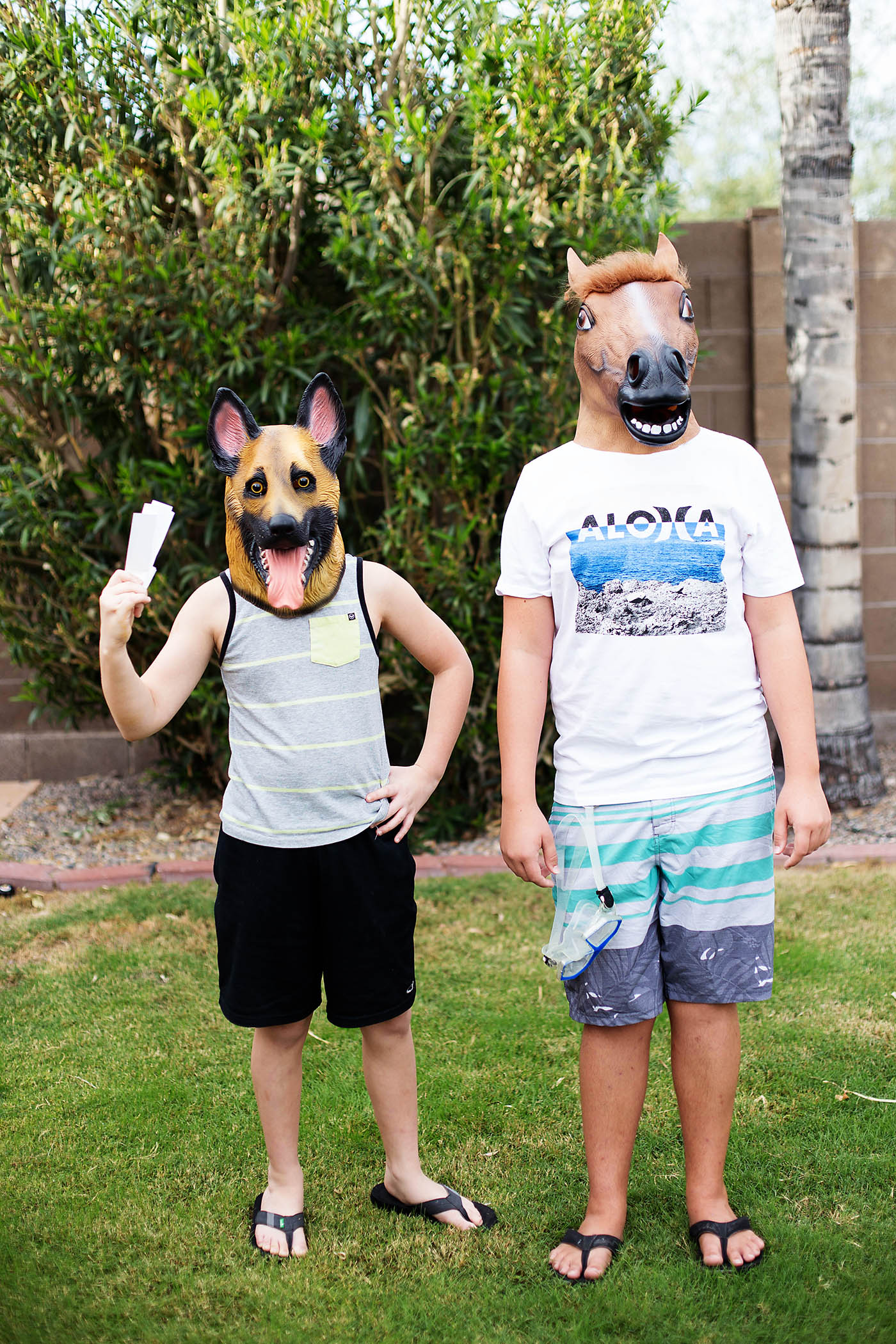 """Hot Dog"" and ""Sea horse"" costumes - very punny!"