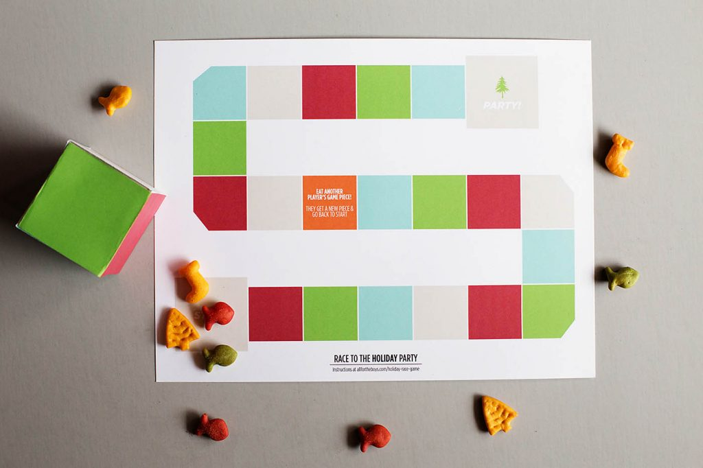 Printable Holiday Game with Edible Pieces