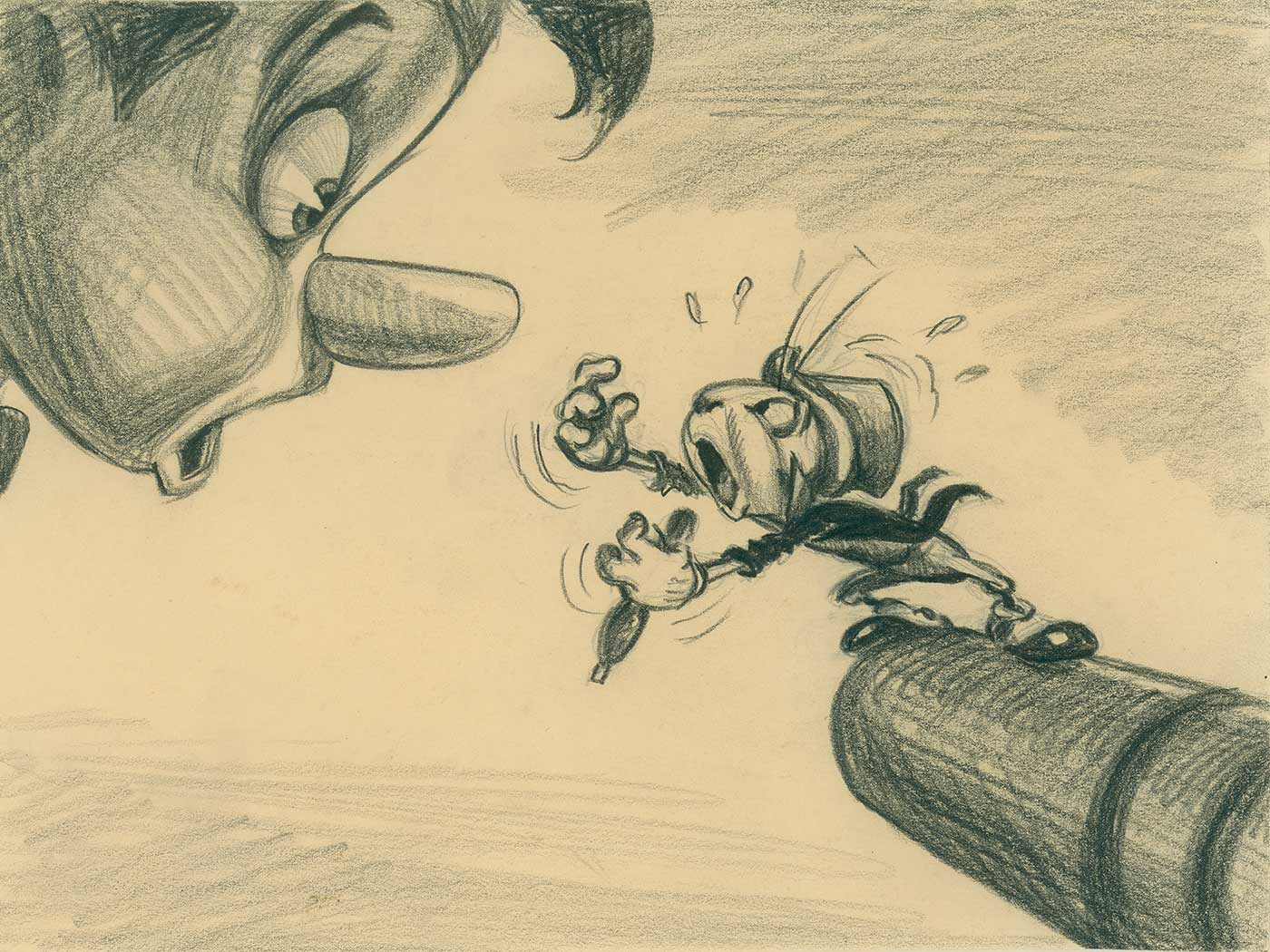 Disney Studio Artist, Pinocchio visual development, pencil on paper; collection of The Walt Disney Family Foundation, gift of Ron and Diane Miller, © Disney