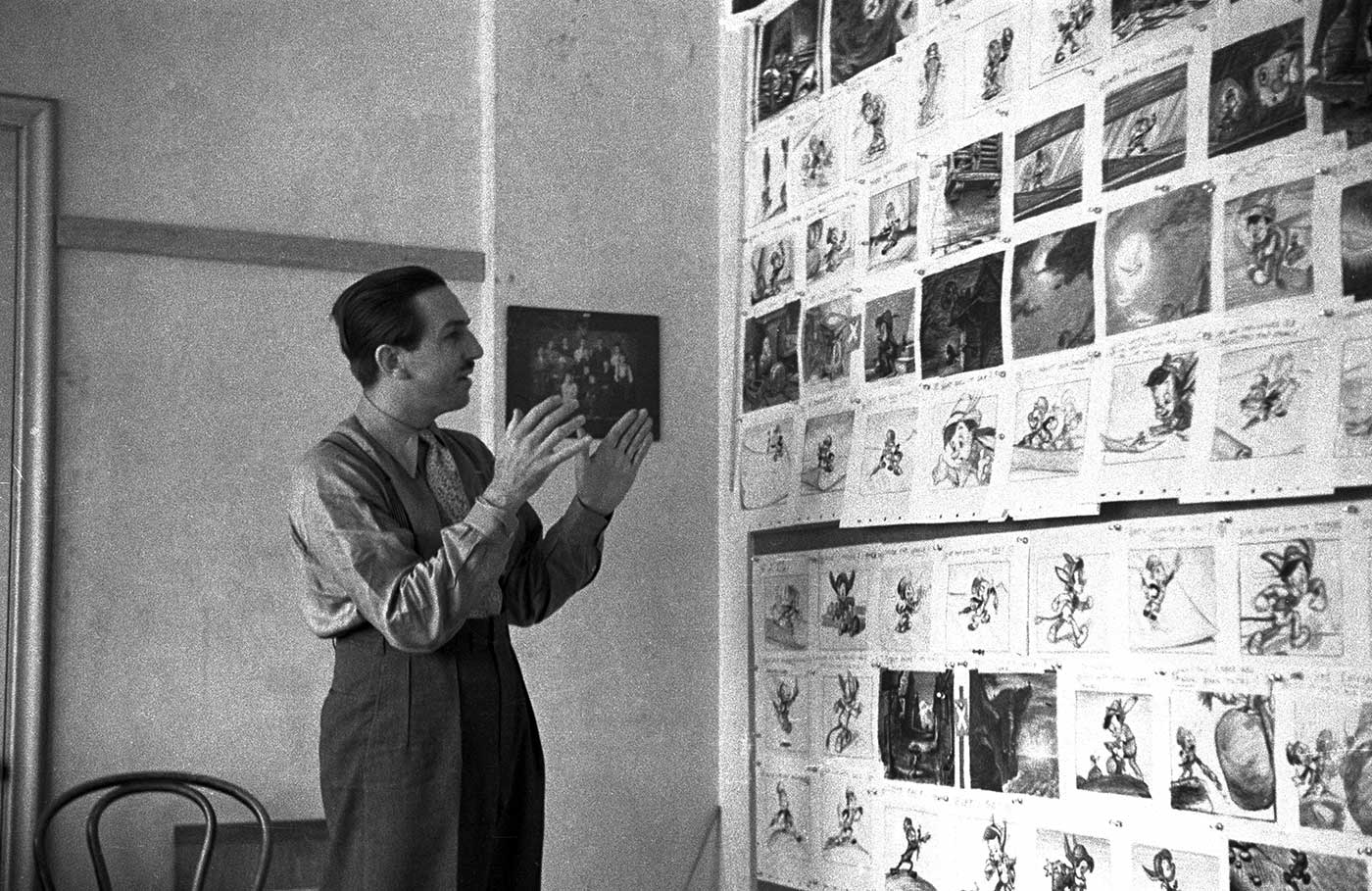 Walt at a Pinocchio storyboard meeting; collection of the Walt Disney Archives Photo Library, © Disney