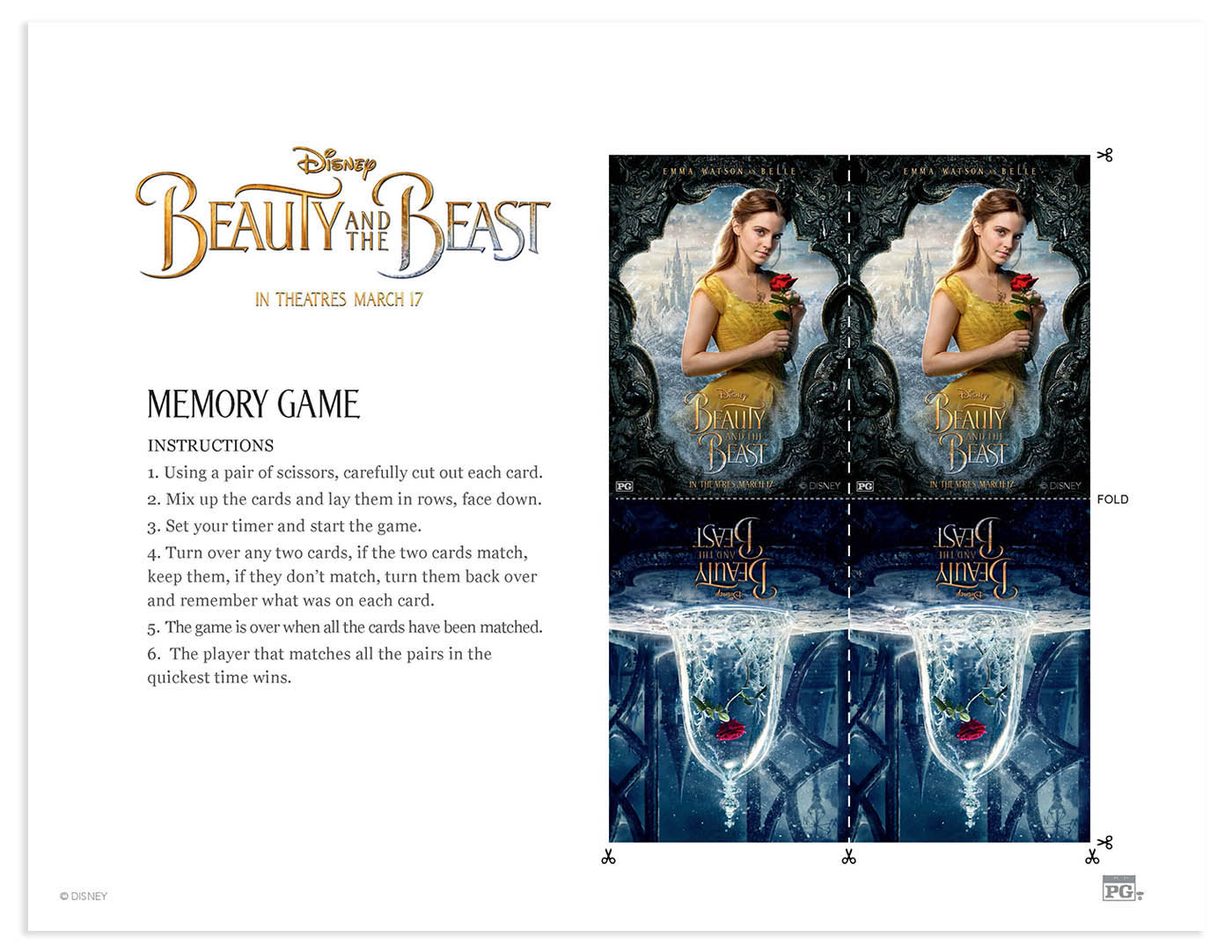 Beauty and the Beast printable coloring pages and activities