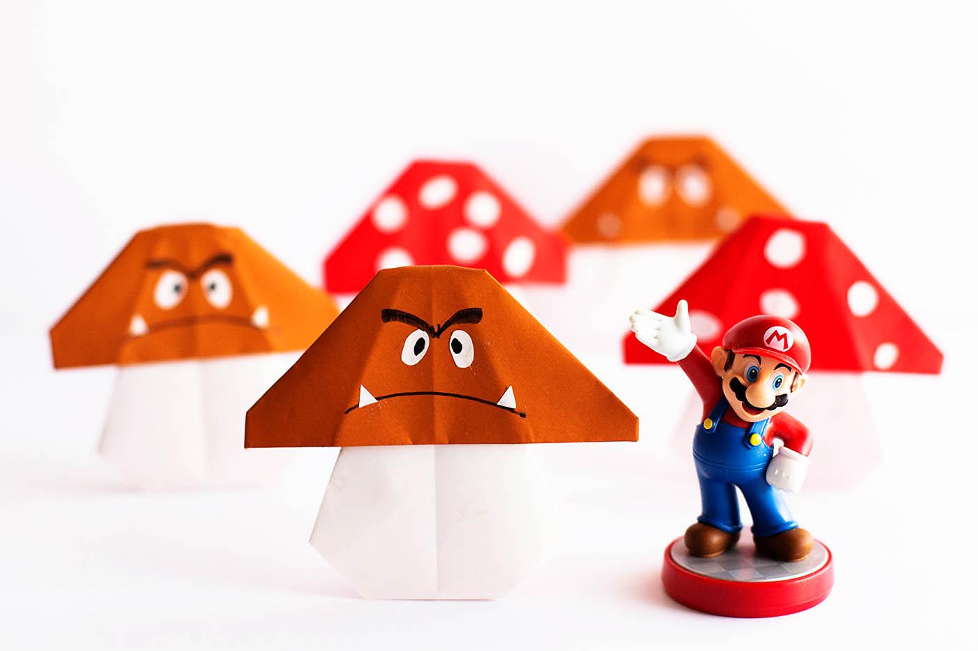 Easy Mario Mushroom origami craft
