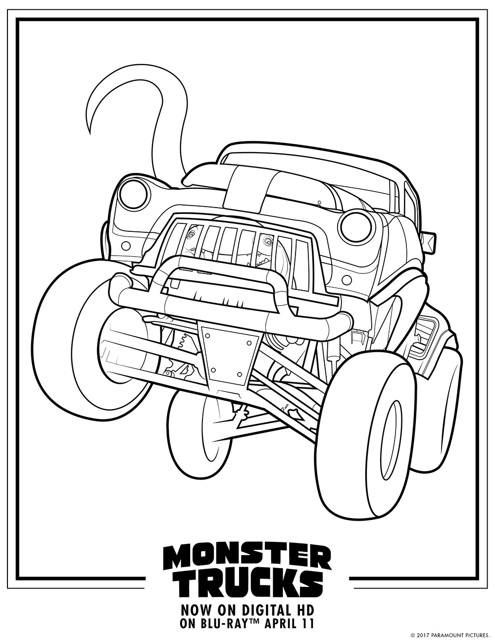 Monster Trucks Printable Coloring Pages on blu sheet