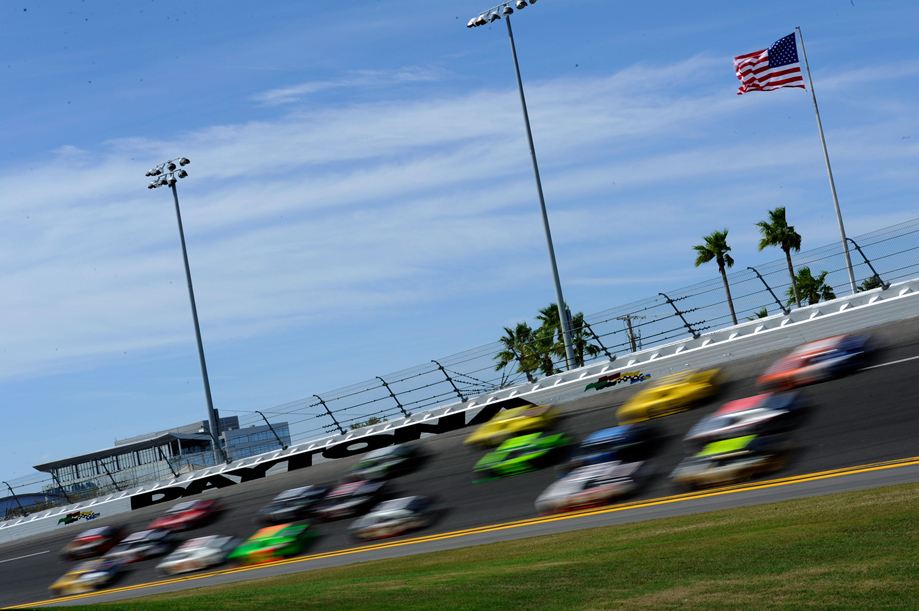 DAYTONA BEACH, FL - FEBRUARY 25:  Cars race during the NASCAR Nationwide Series DRIVE4COPD 300 at Daytona International Speedway on February 25, 2012 in Daytona Beach, Florida.  (Photo by John Harrelson/Getty Images for NASCAR)