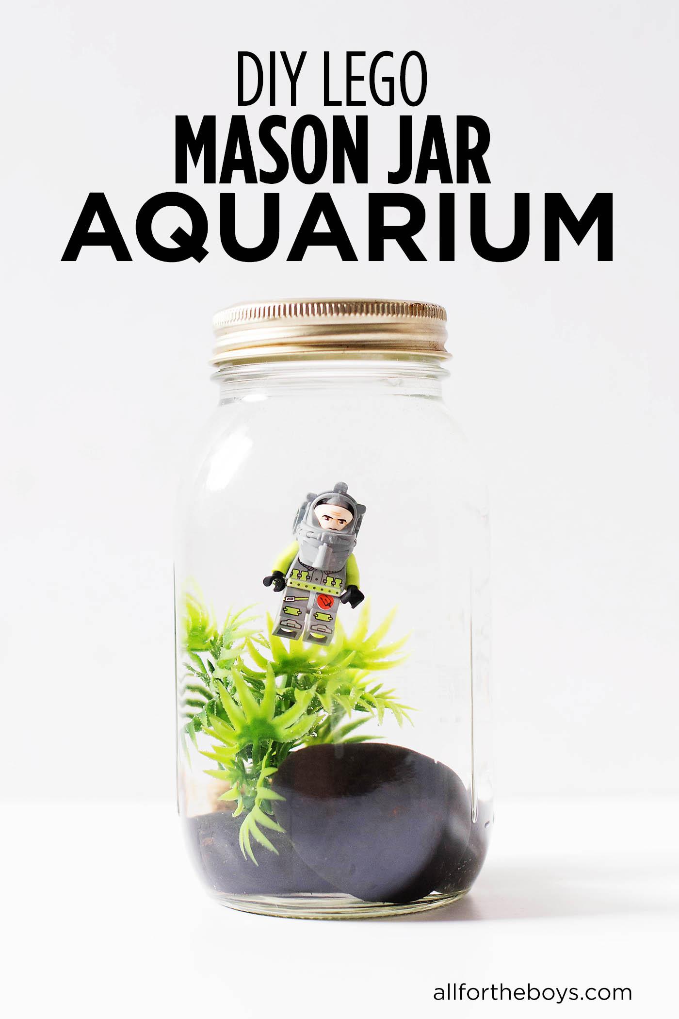DIY LEGO mason jar aquarium craft
