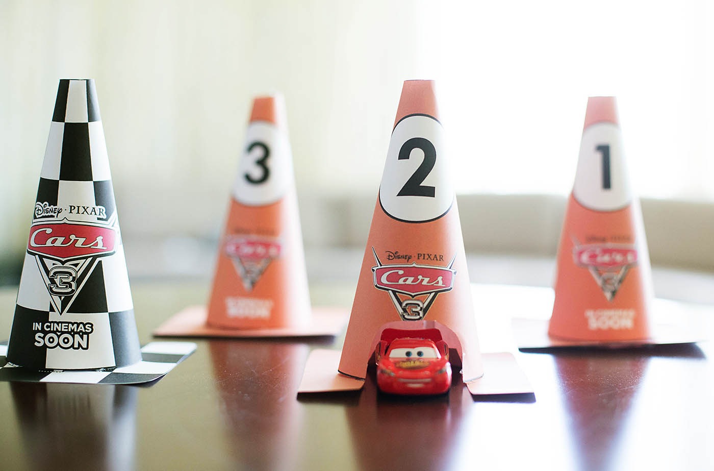 Cars 3 printable cones and race course
