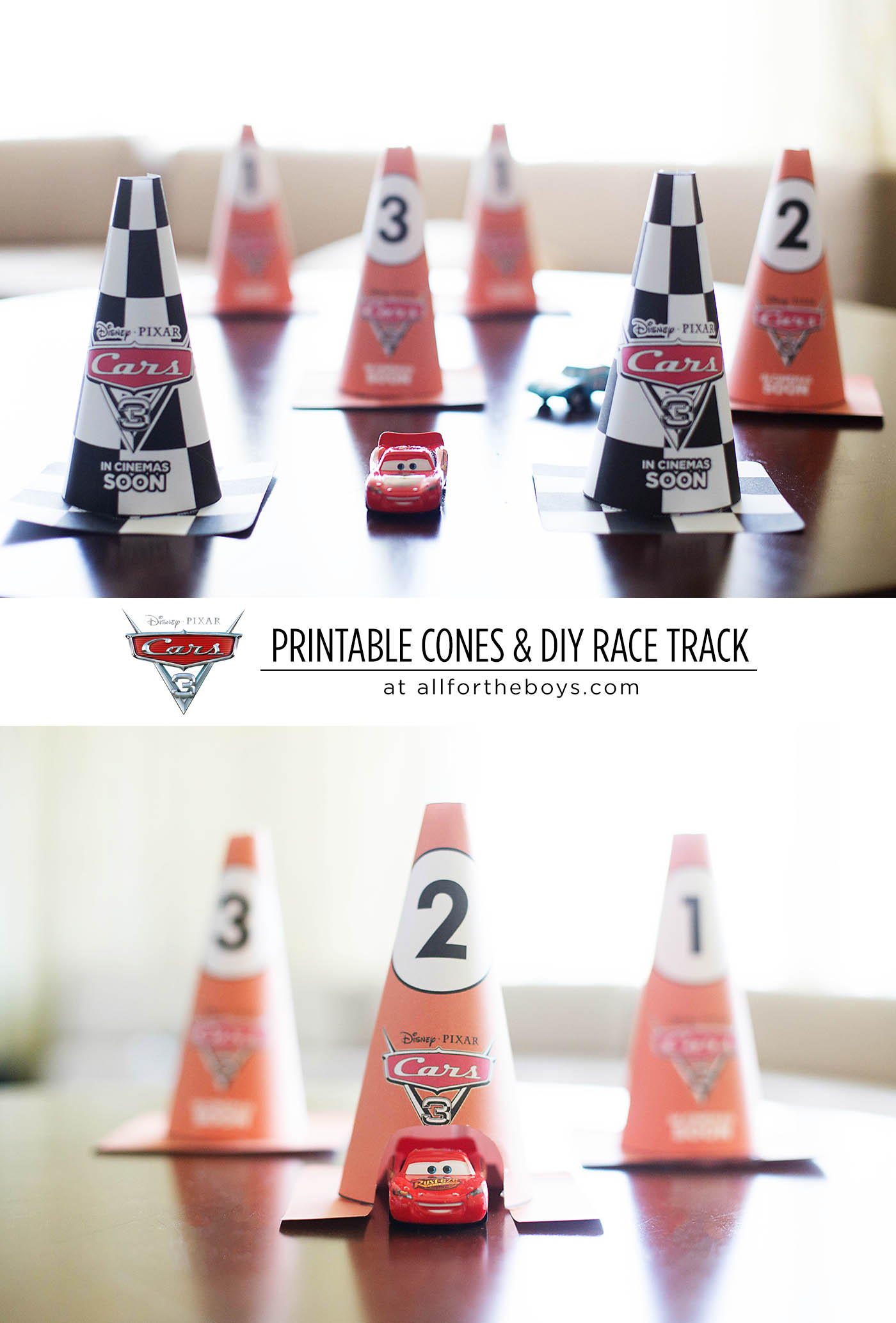 Cars 3 printable activities & cones for a DIY race course