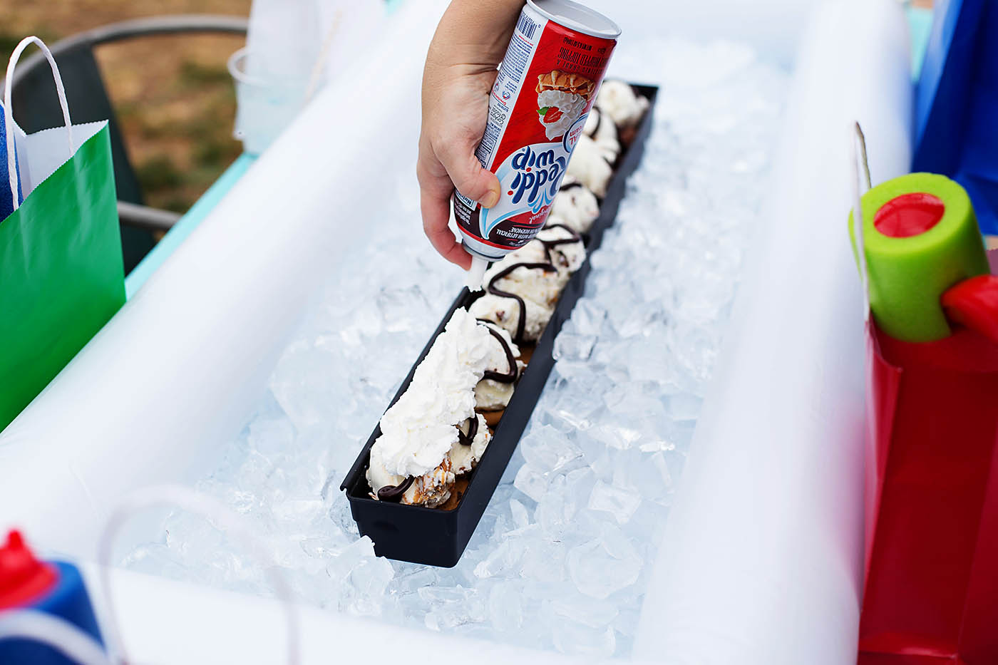 Fun pool party with a 2 foot ice cream sundae!