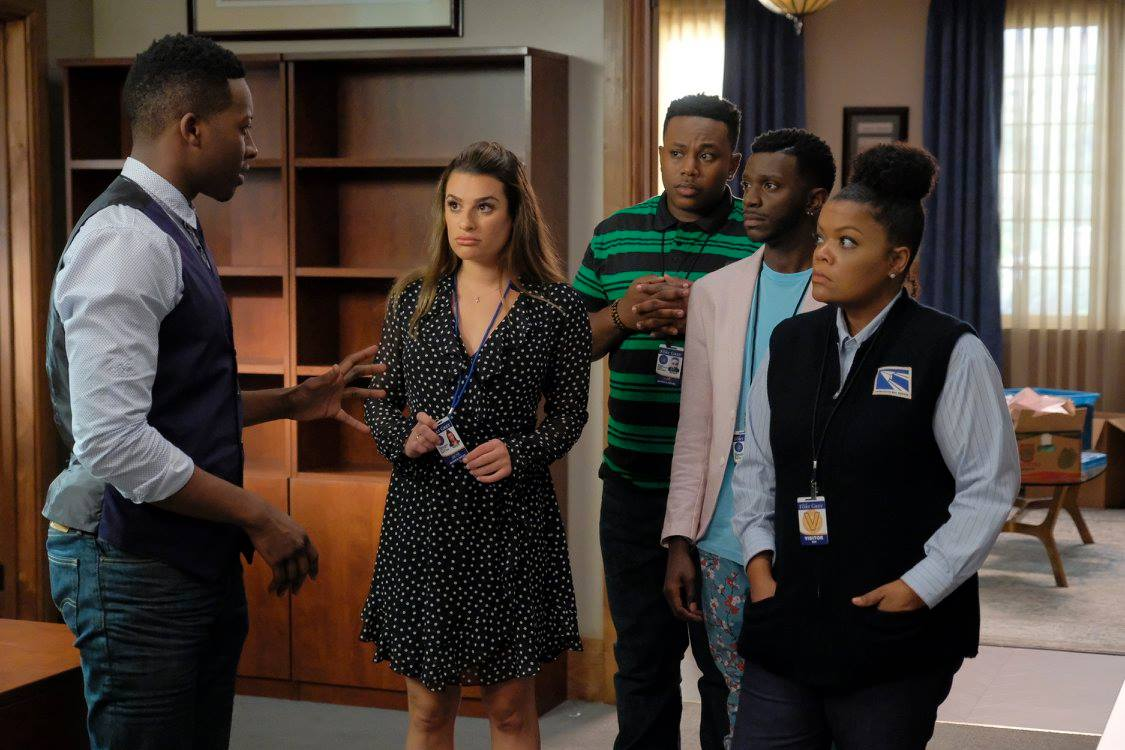 Photo credit:(ABC/Tony Rivetti) (L-R) BRANDON MICHEAL HALL, LEA MICHELE, MARCEL SPEARS, BERNARD DAVID JONES, YVETTE NICOLE BROWN