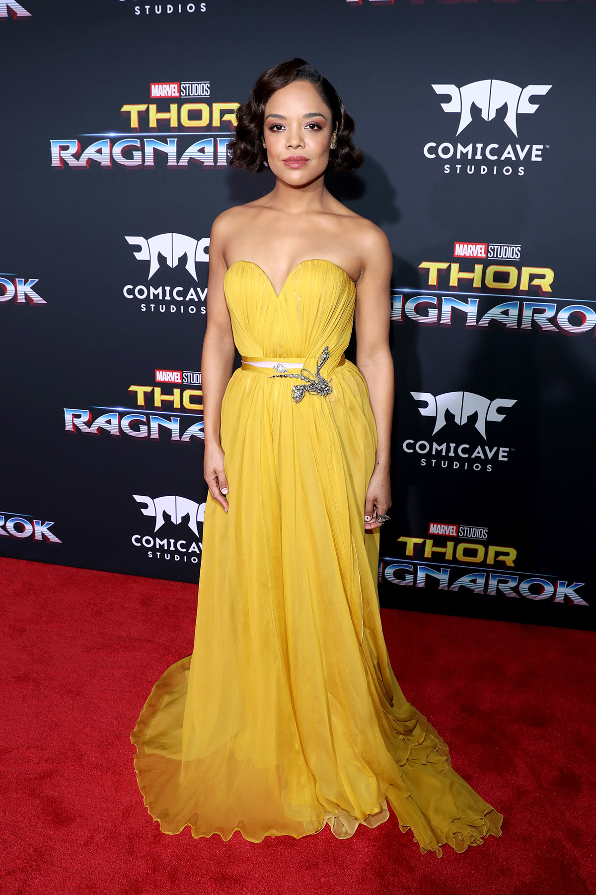 "HOLLYWOOD, CA - OCTOBER 10: Actor Tessa Thompson at The World Premiere of Marvel Studios' ""Thor: Ragnarok"" at the El Capitan Theatre on October 10, 2017 in Hollywood, California. (Photo by Rich Polk/Getty Images for Disney) *** Local Caption *** Tessa Thompson"