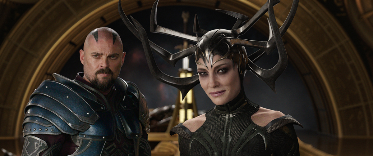 Marvel Studios' THOR: RAGNAROK..L to R: Skurge (Karl Urban) and Hela (Cate Blanchett)..Ph: Film Frame..©Marvel Studios 2017