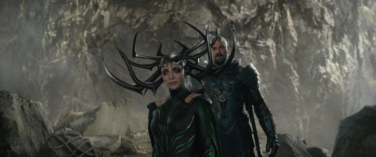 Marvel Studios' THOR: RAGNAROK..L to R: Hela (Cate Blanchett) and Skurge (Karl Urban)..Ph: Film Frame..©Marvel Studios 2017