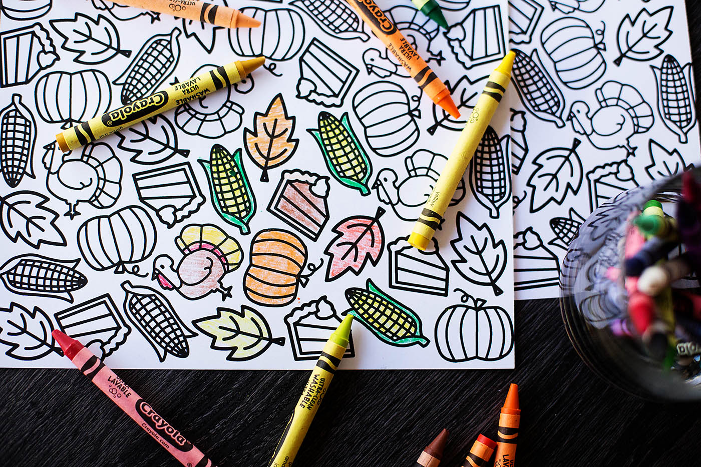 Printable Thanksgiving Coloring Placemat — All for the Boys