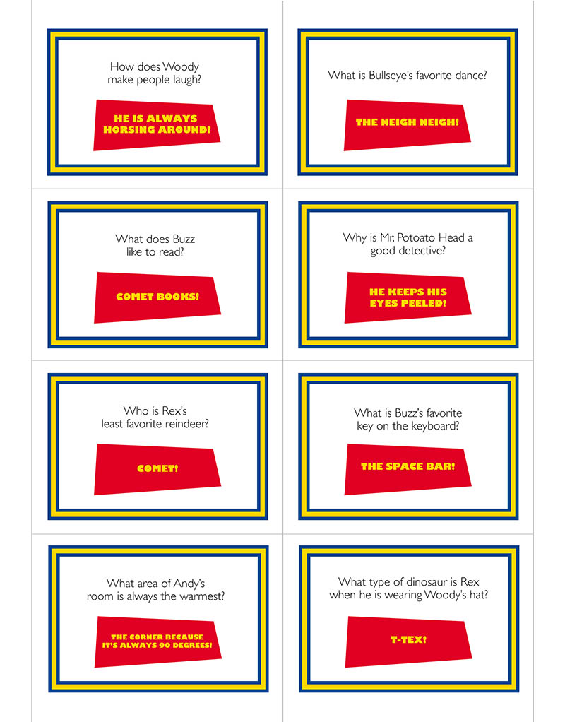 Toy Story lunchbox jokes. Free printables