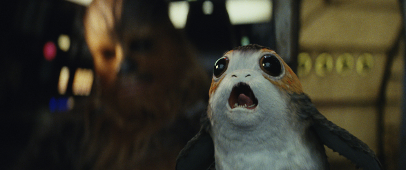 Star Wars: The Last Jedi L to R: Chewbacca with a Porg Photo: Lucasfilm Ltd.  © 2017 Lucasfilm Ltd. All Rights Reserved.