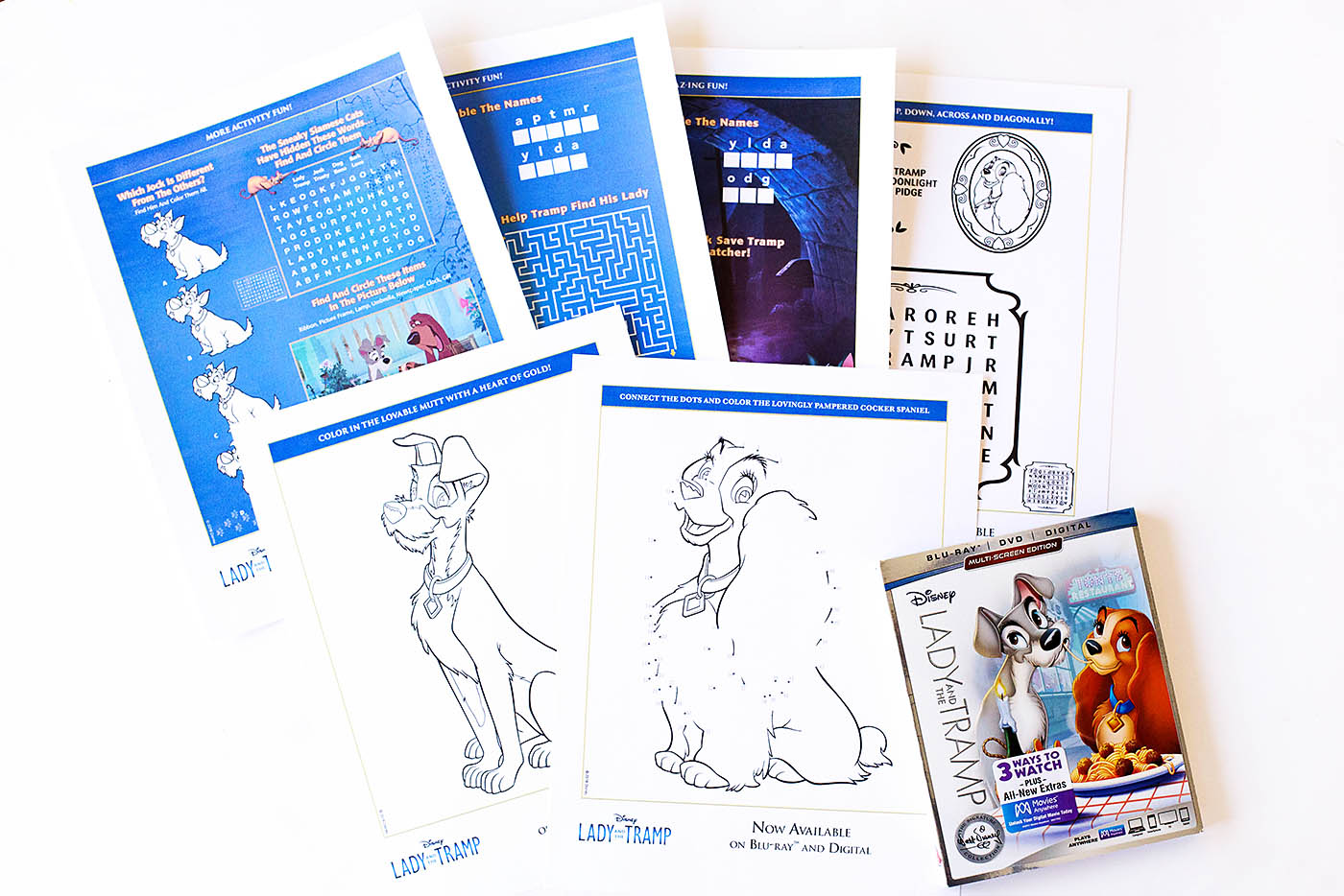 Lady and the Tramp printable paper activities
