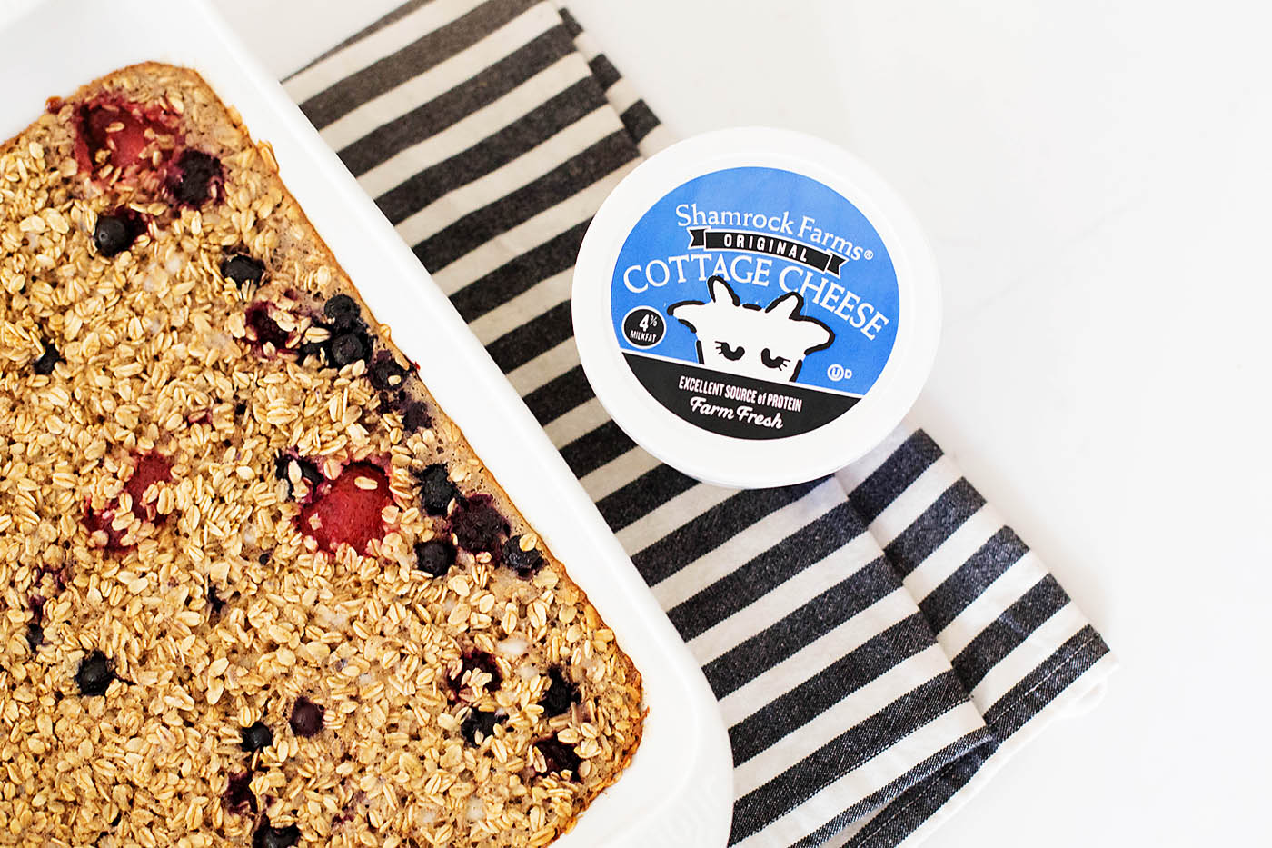Easy Baked Berry Oatmeal with cottage cheese! Made gluten free just by using gluten free oats!