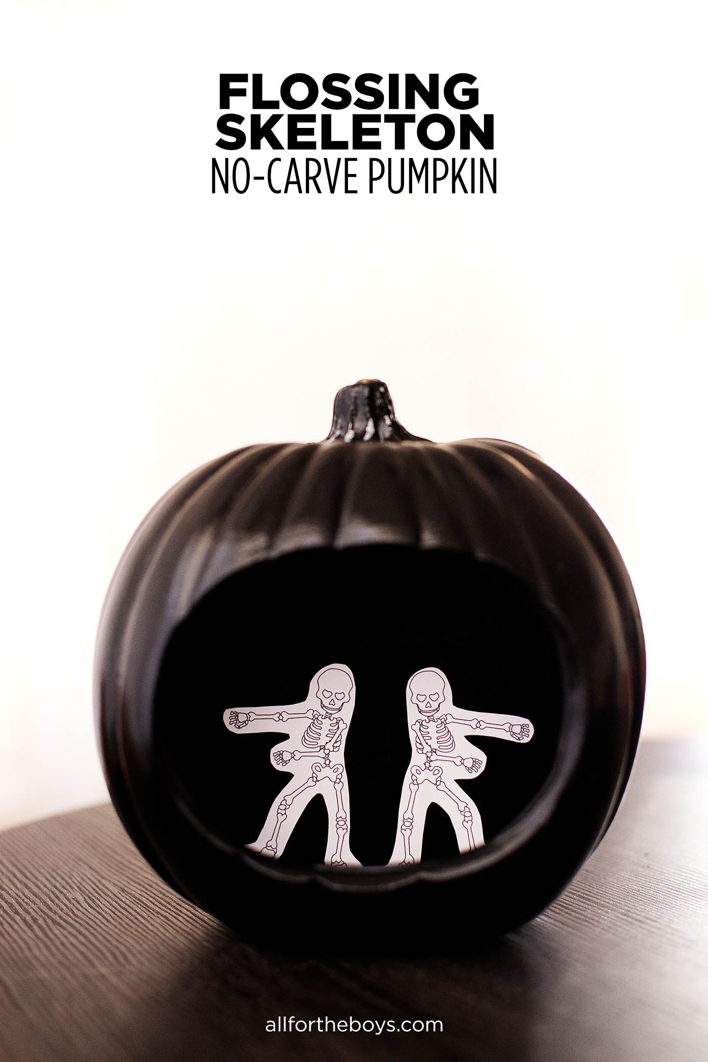 DIY no-carve flossing skeleton pumpkin #halloween #nocarvepumpkin #pumpkin