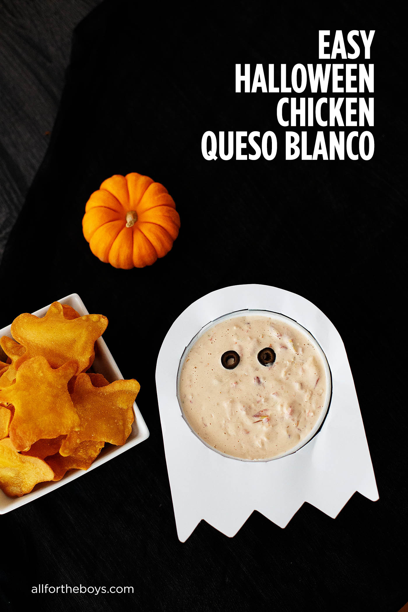 Easy Halloween Chicken Queso Blanco Recipe with a cute idea to decorate a bowl like a ghost!