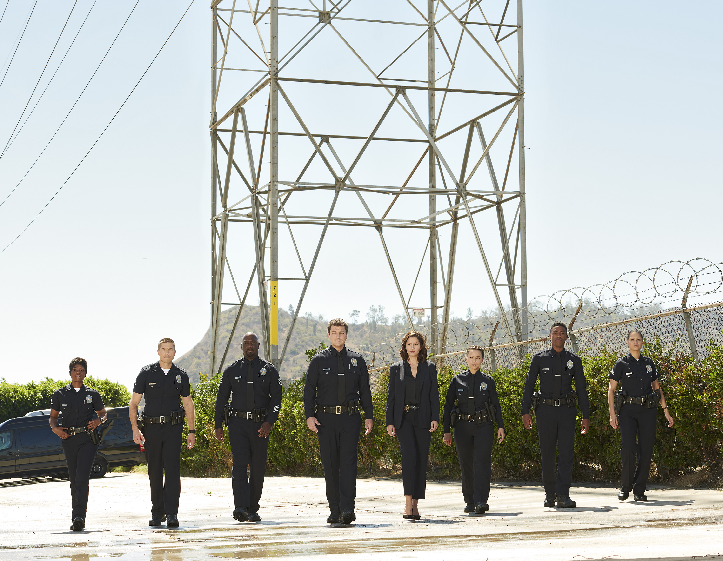 "THE ROOKIE – ABC's ""The Rookie"" stars Afton Williamson as Talia Bishop, Eric Winter as Tim Bradford, Richard T. Jones as Sgt. Wade Grey, Nathan Fillion as John Nolan, Mercedes Mason as Capt. Zoe Anderson, Melissa O'Neil as Lucy Chen, Titus Makin Jr. as Jackson West, and Alyssa Diaz as Angela Lopez. (ABC/Ed Herrera)"