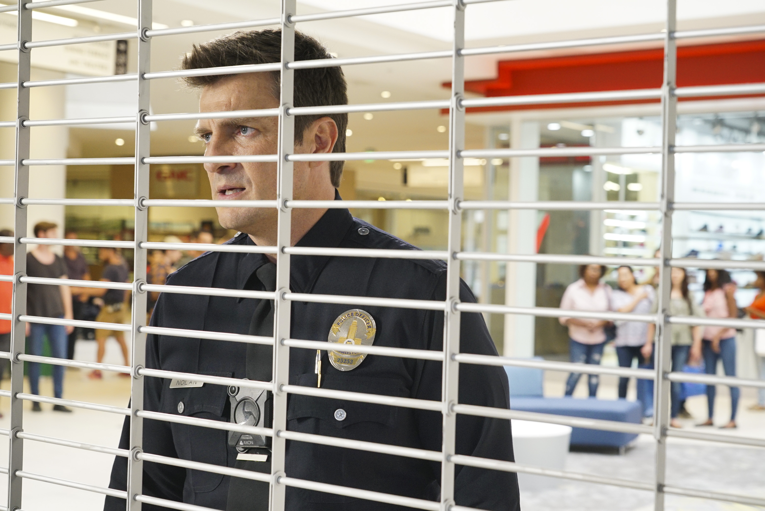 "THE ROOKIE – ""The Hawke"" – Nolan and the team must help capture a cop and his former mentor from the academy after he becomes a fugitive following an assault. Meanwhile, Officer Tim Bradford needs Officer Lucy Chen to learn to predict the moves of criminals in order to capture them, on ""The Rookie,"" airing TUESDAY, NOV. 27 (10:00-11:00 p.m. EST), on The ABC Television Network. (ABC/Eric McCandless) NATHAN FILLION"