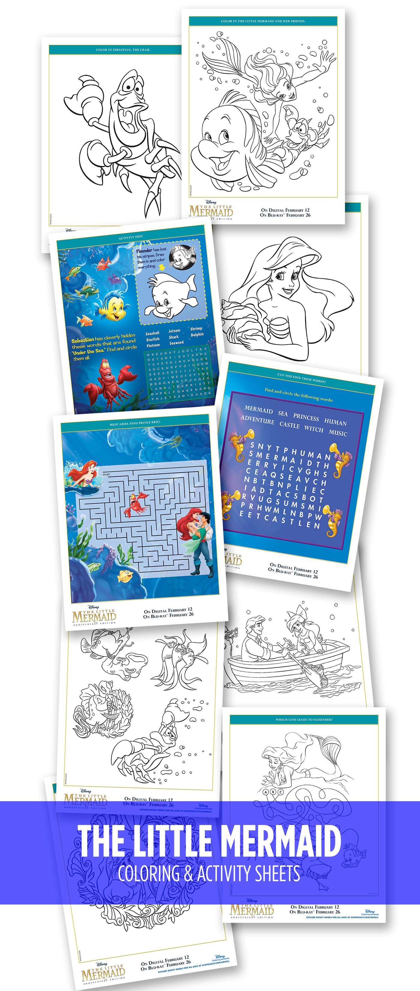 The Little Mermaid coloring and activity pages