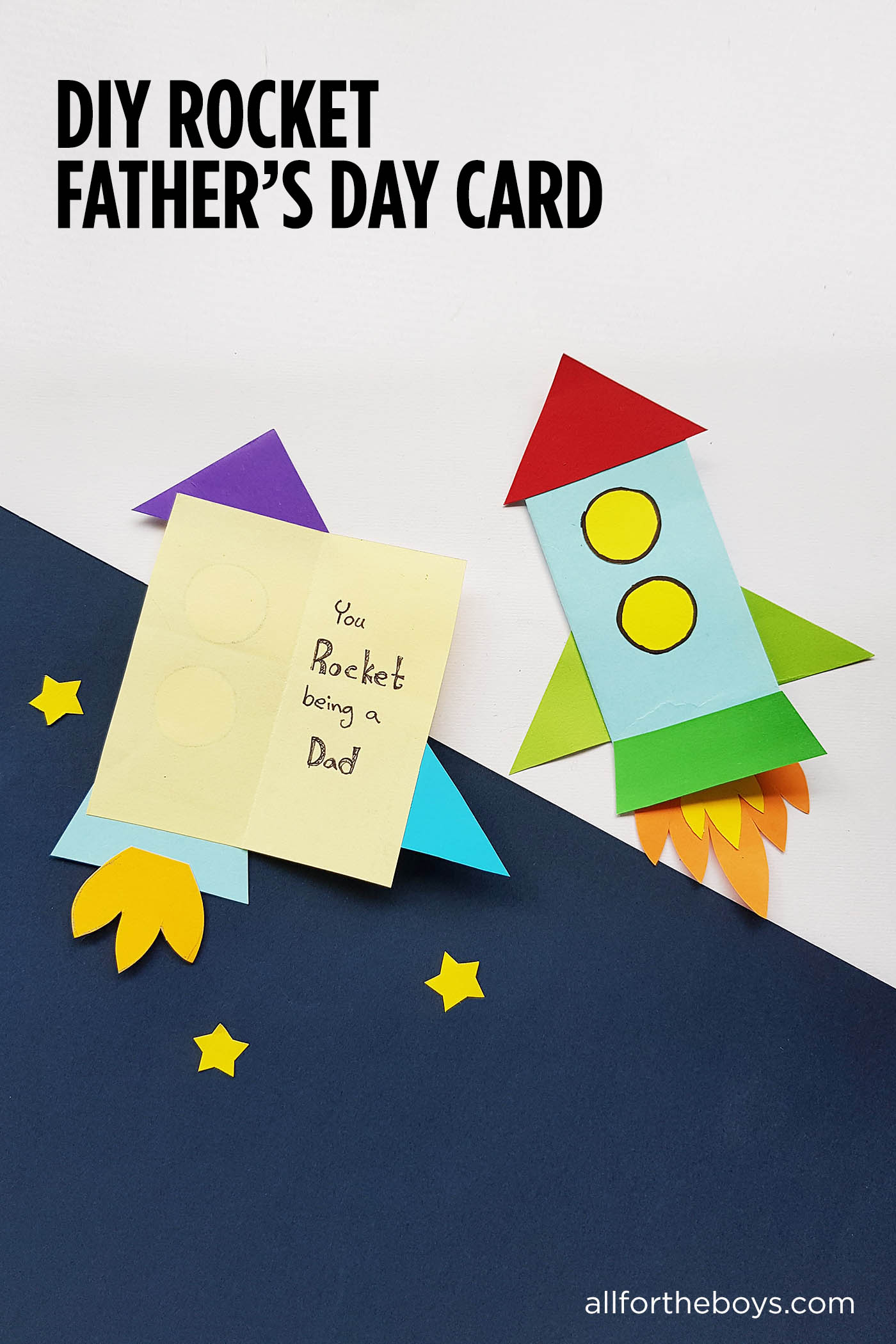 DIY Punny Rocket Father's Day Card - You Rock-et Being a Dad