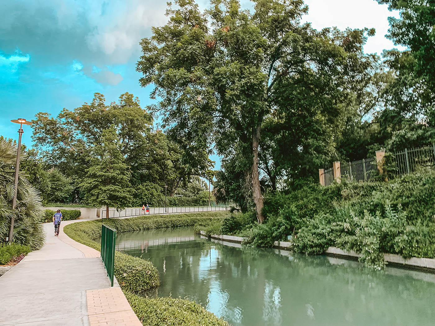 View of the river walk in San Antonio with trees