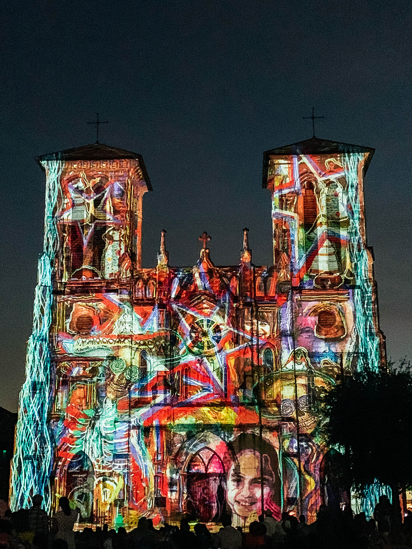 Lights on a cathedral at night in San Antonio