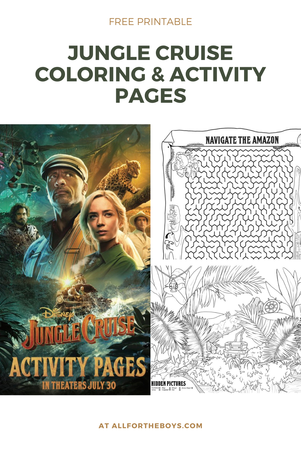 Jungle Cruise printable activity and coloring sheets